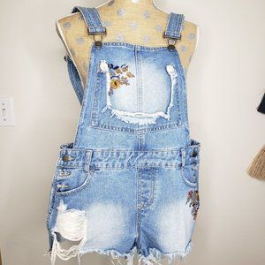 Hot Kiss Ava Floral Embroidered Distressed Overall